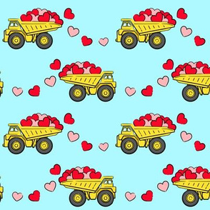 tons of love - valentines day trucks with hearts -  light blue