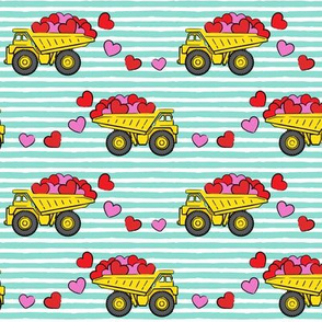 tons of love - valentines day trucks with hearts -  teal stripes