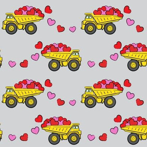 tons of love - valentines day trucks with hearts -  grey