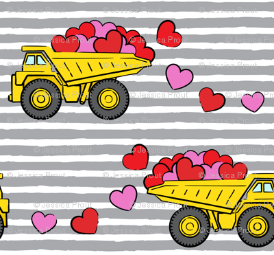 tons of love - valentines day trucks with hearts -  grey stripes