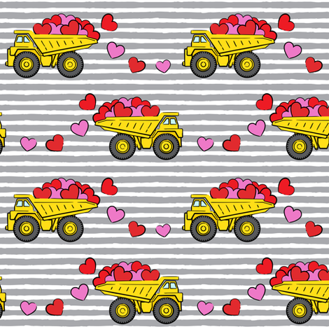 tons of love - valentines day trucks with hearts -  grey stripes fabric by littlearrowdesign on Spoonflower - custom fabric