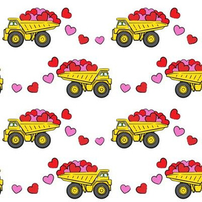 tons of love - valentines day trucks with hearts -  white