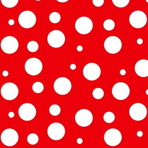 White Polka Dots on Red - LG