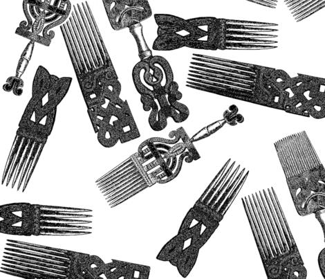 Vintage Afro picks fabric by nalo_hopkinson on Spoonflower - custom fabric