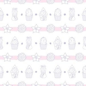 Cacti And Flowers Striped Pastel Pattern