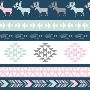Southwest Horizon - Zones in Spearmint, Pink, Navy and Grey