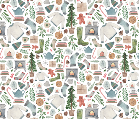 Cozy Christmas! (Bigger) fabric by elena_o'neill_illustration_ on Spoonflower - custom fabric