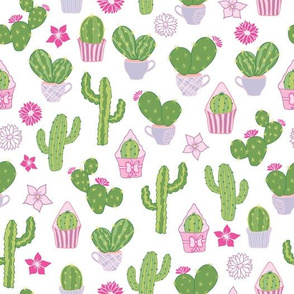 Cacti Tea Party Green And Pink Pattern