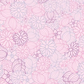 Pink, Purple And Blue Floral Pattern