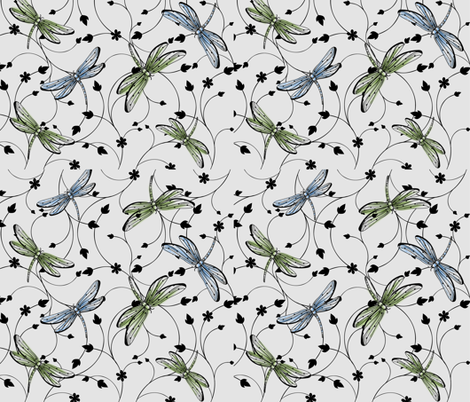 Dragonflies in garden fabric by mitalimdesigns on Spoonflower - custom fabric