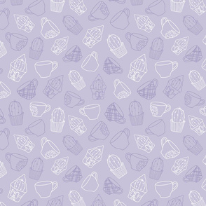 Cacti and Teacups Purple Textured Pattern