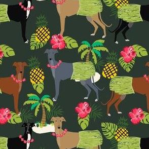 tiki hula dancer greyhound fabric - dog, dog fabric, greyhound fabric, dog breeds fabric, tropical palm tree fabrics, cute dog design - dark green