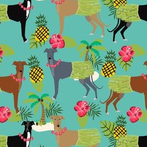 tiki hula dancer greyhound fabric - dog, dog fabric, greyhound fabric, dog breeds fabric, tropical palm tree fabrics, cute dog design - turquoise