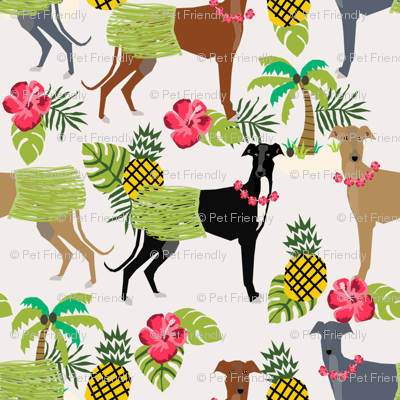 tiki hula dancer greyhound fabric - dog, dog fabric, greyhound fabric, dog breeds fabric, tropical palm tree fabrics, cute dog design - light
