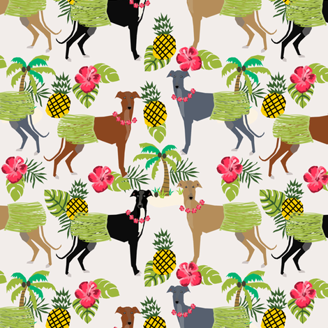 tiki hula dancer greyhound fabric - dog, dog fabric, greyhound fabric, dog breeds fabric, tropical palm tree fabrics, cute dog design - light fabric by petfriendly on Spoonflower - custom fabric