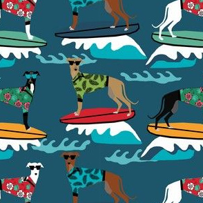 surfing dog greyhound fabric - surfing dog, surfing fabric, dog fabric, greyhound fabric, greyhounds fabric, hawaiian shirt fabric, cute hawaii shirt dogs - dark blue