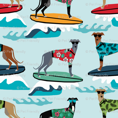 surfing dog greyhound fabric - surfing dog, surfing fabric, dog fabric, greyhound fabric, greyhounds fabric, hawaiian shirt fabric, cute hawaii shirt dogs - blue