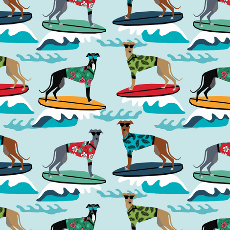 surfing dog greyhound fabric - surfing dog, surfing fabric, dog fabric, greyhound fabric, greyhounds fabric, hawaiian shirt fabric, cute hawaii shirt dogs - blue fabric by petfriendly on Spoonflower - custom fabric