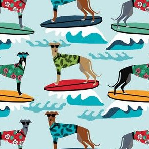 surfing dog greyhound fabric - surfing dog, surfing fabric, dog fabric, greyhound fabric, greyhounds fabric, hawaiian shirt fabric, cute hawaii shirt dogs - blue