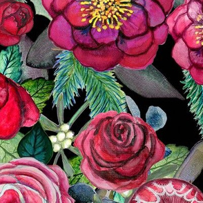 burgundy floral watercolor //Christmas floral // holiday floral // winter flowers //