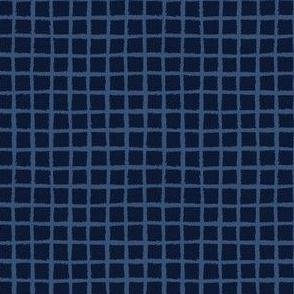 Hand Drawn Check Pattern Indigo Blue Grunge