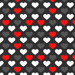 Black White Red Hearts