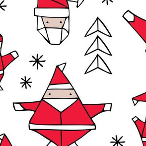 Origami decoration stars seasonal geometric december holiday and santa claus print design red black and white JUMBO