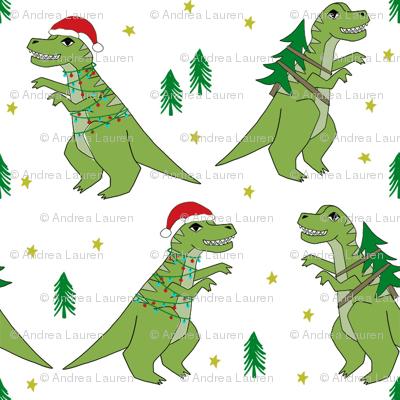 T Rex Christmas.Christmas Fabric Dinosaur Christmas Fabric Tree Rex T