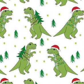 christmas fabric - dinosaur christmas fabric, tree rex, t-rex christmas, funny christmas fabric, funny christmas gift wrap, christmas wrapping paper - white