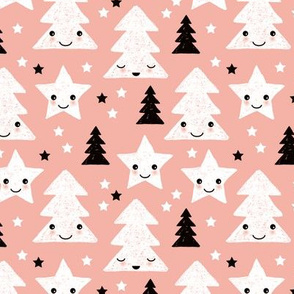 Merry christmas kawaii seasonal christmas trees and stars Japanese illustration print pastel pink Small