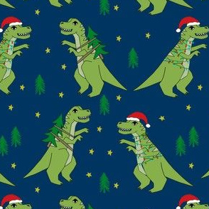 christmas fabric - dinosaur christmas fabric, tree rex, t-rex christmas, funny christmas fabric, funny christmas gift wrap, christmas wrapping paper - navy