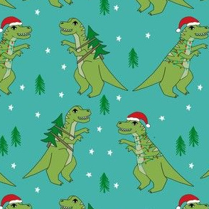 christmas fabric - dinosaur christmas fabric, tree rex, t-rex christmas, funny christmas fabric, funny christmas gift wrap, christmas wrapping paper - turquoise