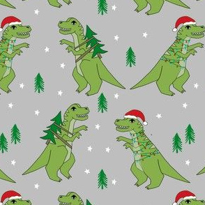 christmas fabric - dinosaur christmas fabric, tree rex, t-rex christmas, funny christmas fabric, funny christmas gift wrap, christmas wrapping paper - grey