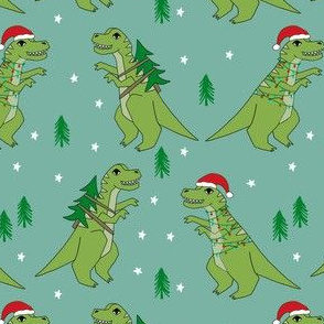 christmas fabric - dinosaur christmas fabric, tree rex, t-rex christmas, funny christmas fabric, funny christmas gift wrap, christmas wrapping paper - blue