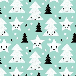 Merry christmas kawaii seasonal christmas trees and stars Japanese illustration print pastel blue Small