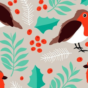 Botanical christmas garden robin birds pine leaves holly branch berries green orange JUMBO
