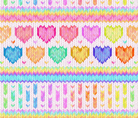 Cosy Knit with Rainbow Hearts - off white, large fabric by micklyn on Spoonflower - custom fabric