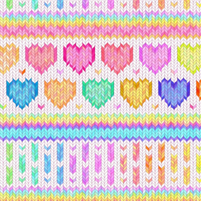 Cosy Knit with Rainbow Hearts - off white, large
