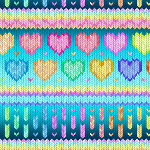 Cosy Knit with Rainbow Hearts - teal blue, large