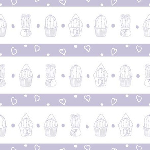 Pastel Purple Cacti and Hearts Repeat Patters