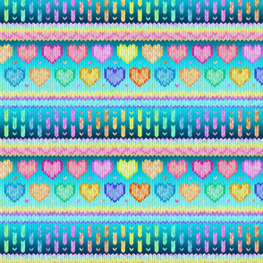 Cosy Knit with Rainbow Hearts - teal blue, small