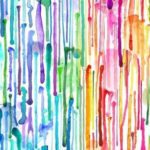 Watercolor Rainbow Paint Drips