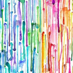 Watercolor Rainbow Paint Drips