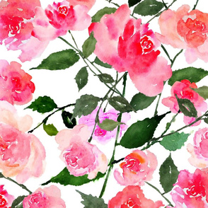 Hand Painted Watercolor Roses