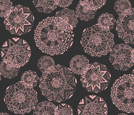 Shapes And Lines Salmon On Black fabric by elizabeth_chia on Spoonflower - custom fabric