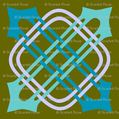 Merlins Knot Aquas Periwinkle on Green