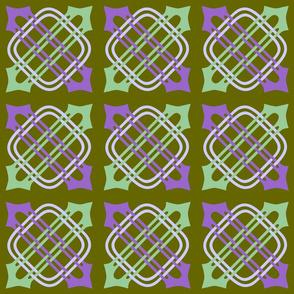 Merlins Knot Purple Green Periwinkle on Green
