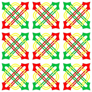 Merlins Knot Red Green White Yellow
