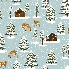 Winter Forest Cabins and Deer