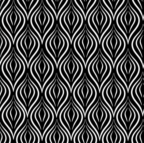 fancy black and white curves fabric by villavanilla on Spoonflower - custom fabric